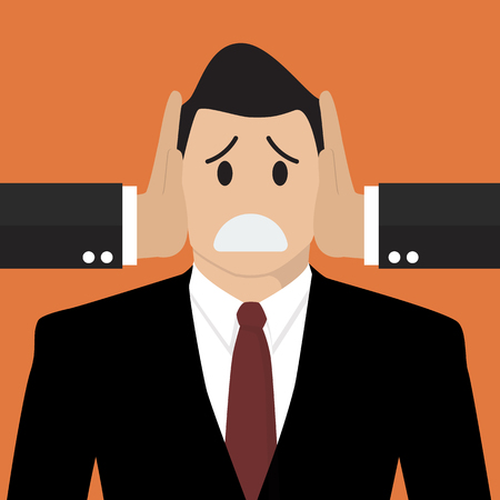 patronage: Businessman was covered ears by other man. Business concept Illustration