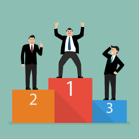 Winners businessman stand on a podium. Business competition concept