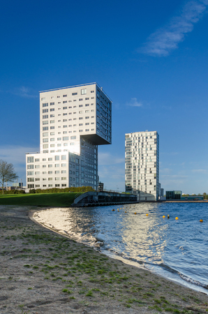 silverline: Almere, Netherlands - May 5, 2015: Skyline apartment buildings of Almere Stad, Netherlands - Silverline and Almere Towers