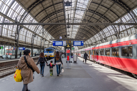 amstel: Amsterdam, Netherlands - May 7, 2015: passenger at Amsterdam Amstel Central Station on May 7, 2015 in Amsterdam, Netherlands.