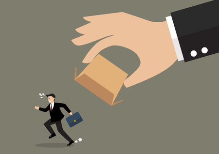restrain: Businessman running away from cardboard box. Business concept