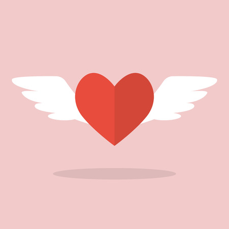 heart with wings: Heart with wings. Flat Style Vector Illustration