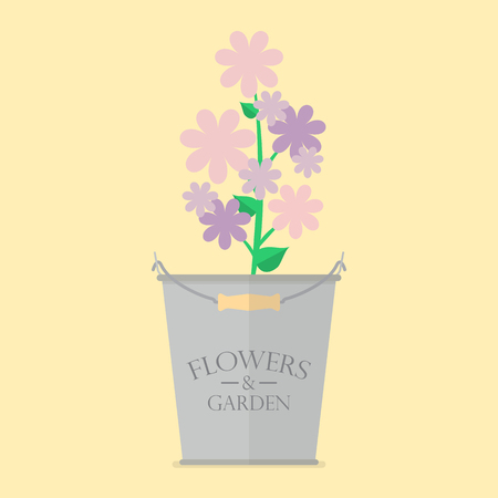 eco flowers basket: Flowers in zinc pot flat icon. Vector Illustration