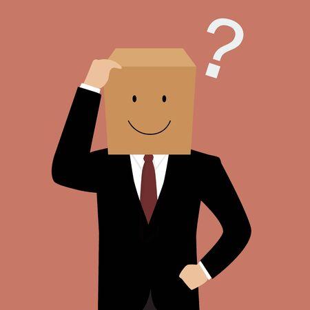 confused businessman: Confused businessman with a cardboard box on his head. Vector Illustration Illustration