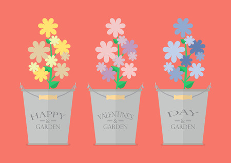 eco flowers basket: Flowers in pots with word Happy Valentines Day. Greeting card Illustration
