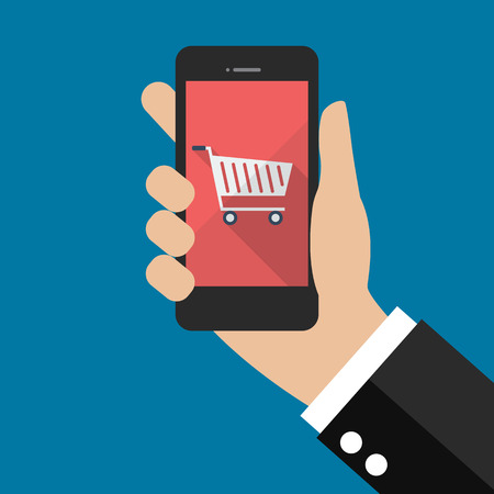 hand cart: Hand holding smartphone with cart icon. Flat style design