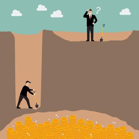 Business-Strategie-Konzept. Gehen Sie für einen Zoll breit und eine Meile tief besser als für jede Meile und einen Zoll tief zu gehen. Vektorgrafik