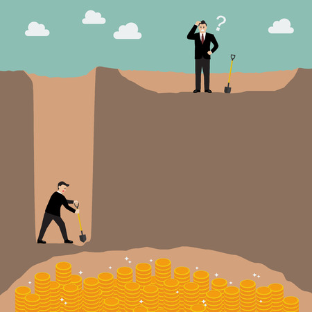 Business strategy concept. Go for one inch wide and one mile deep better than go for every mile and one inch deep. Illustration