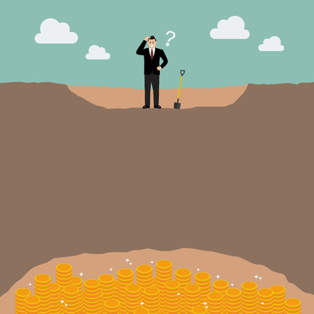failed strategy: Confused businessman can not find the treasure. Business strategy concept.