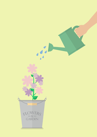 eco flowers basket: Hand watering flower in pot. Flat style design
