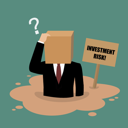 quicksand: Cardboard businessman sinking in a quicksand. Investment risk concept