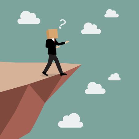 Cartone d'affari camminare dritto nell'abisso. concetto di business