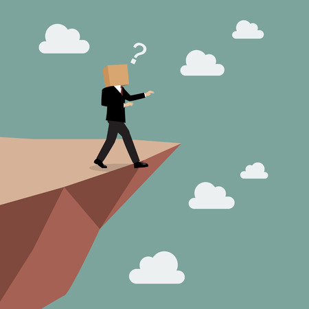 Cardboard businessman walk straight into the abyss. Business concept Illustration