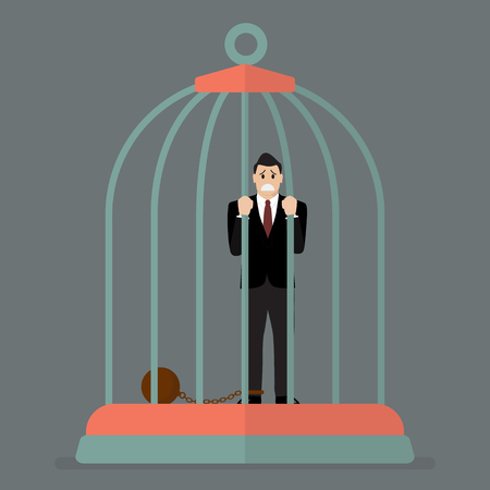 detain: Businessman with weight in bird cage. Business concept