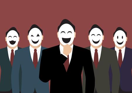 wearing: Businessmen wearing a various mask Illustration
