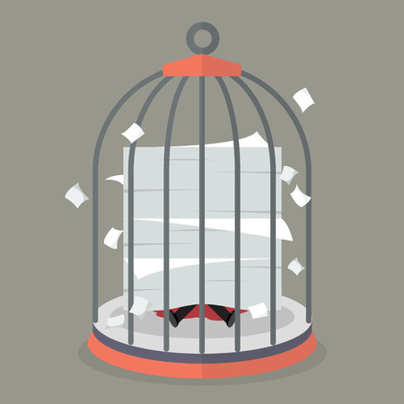 jailbird: Businessman under a lot of documents in bird cage. Business concept Illustration