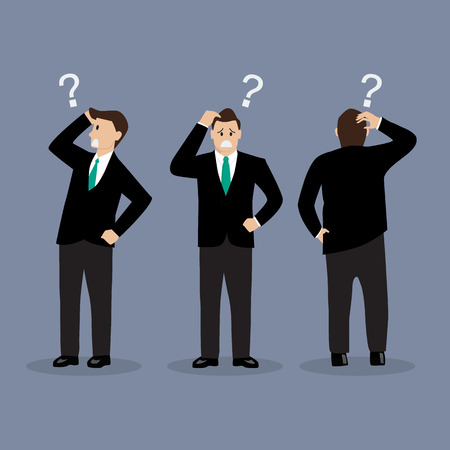 person thinking: Various confused businessman. Vector illustration