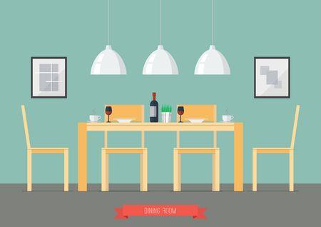 dining room: Flat Design Interior Dining Room. Vector Illustration