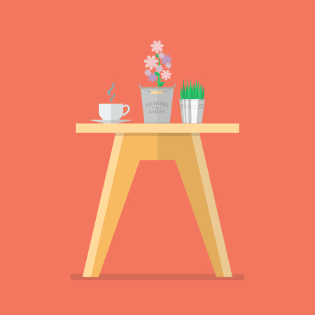 side table: Side table in flat style. Vector Illustration Illustration