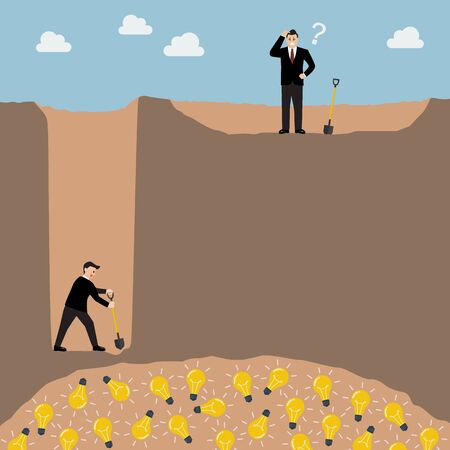 mile: Business strategy idea concept. Go for one inch wide and one mile deep better than go for every mile and one inch deep.