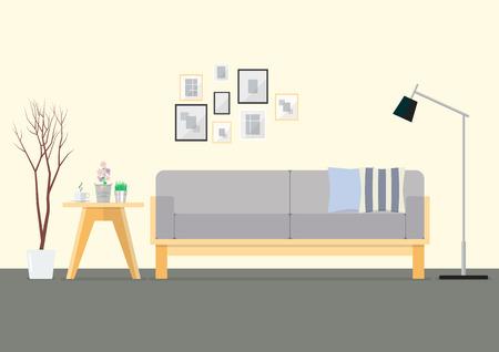 living room design: Flat Design Interior Living Room. Vector Illustration