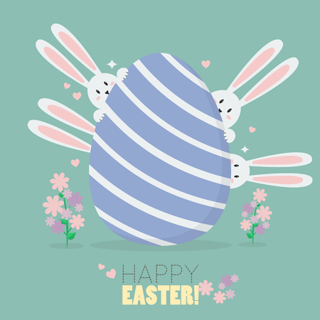 Happy easter with bunnies and easter egg. Greeting card Illusztráció