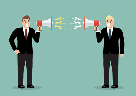 angry businessman: Two angry businessman are shouting on each other with megaphones. Business concept