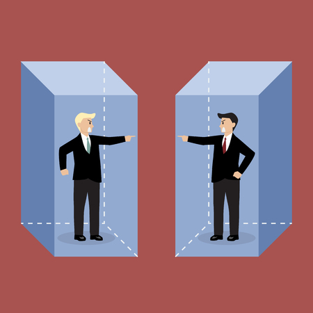 discord: Two angry businessman in the box are shouting on each other. Concept of quarrel