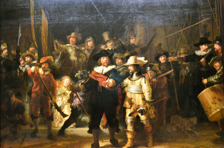 famous painting: Amsterdam, Netherlands - May 6, 2015: The painting Night watch at Rijksmuseum, Amsterdam, Netherlands. The Night Watch is one of the most famous Dutch Golden Age paintings and is window 16 in the Canon of Amsterdam. Editorial