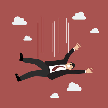 failed: Businessman falling. failed in business Illustration