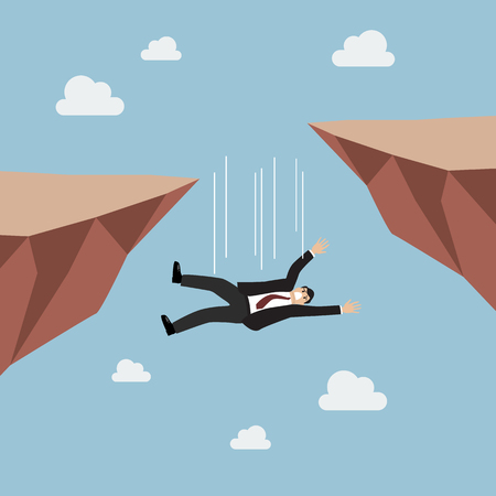 failed: Businessman falling abyss. failed in business