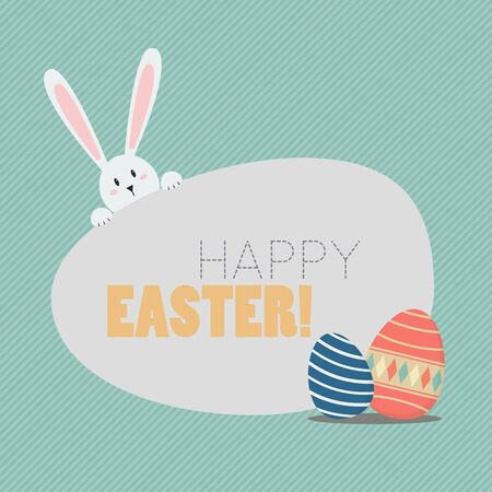 cartoon egg: Happy easter with easter eggs and bunny. Greeting card