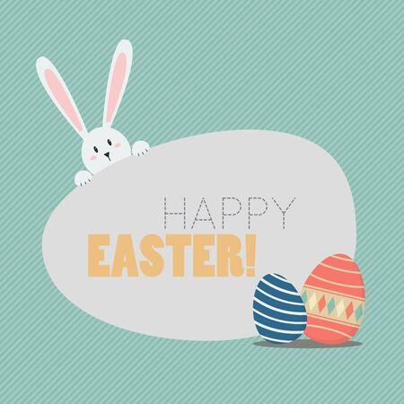 huevo caricatura: Pascua feliz con los huevos de Pascua y conejito. Tarjeta de felicitación Vectores