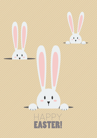 Happy Easter with white rabbits in a hole. Greeting card