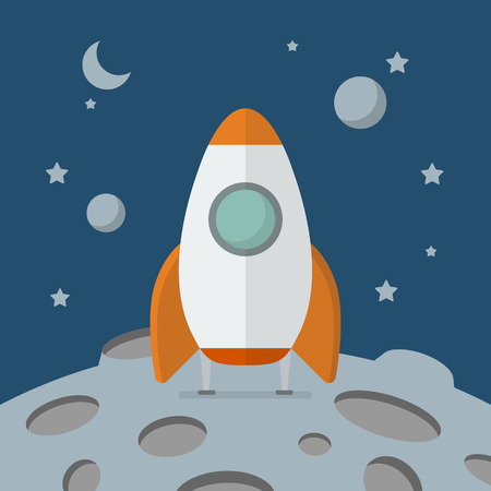 landed: Rocket landed on the moon. Flat style vector illustration