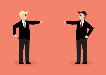 bureaucrat: Two angry businessman are shouting on each other. Concept of quarrel