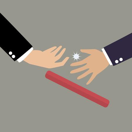 Zakenman niet aan het passeren van het stokje in een estafette. Partnerschap of teamwork concept Vector Illustratie