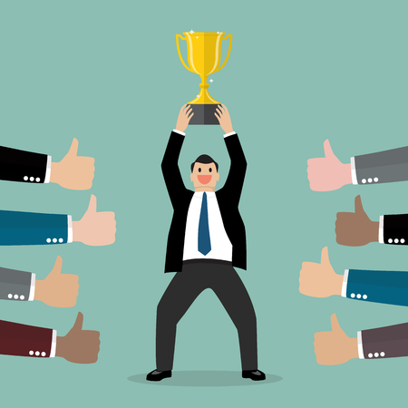 laud: Crowd praise businessman holding up a winning trophy. Business concept
