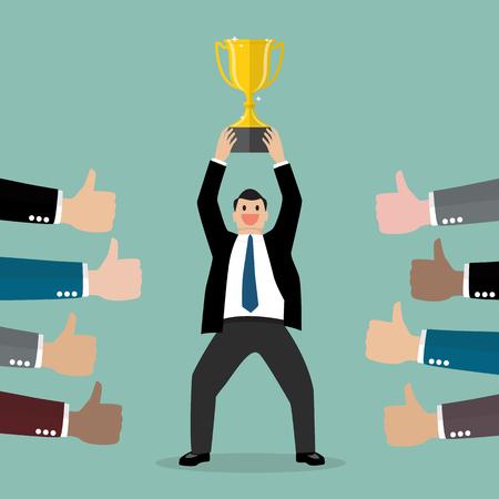 Crowd praise businessman holding up a winning trophy. Business concept