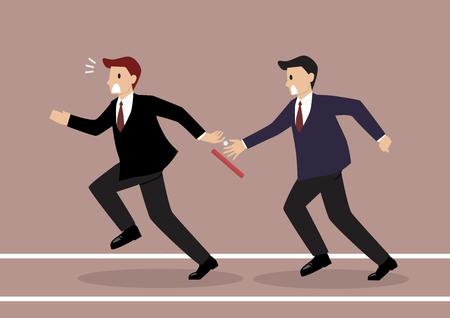 Homme d'affaires ne parviennent pas à passer le relais à une compétition de course de relais. concept de partenariat ou de travail d'équipe Vecteurs