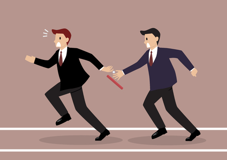 Businessman fail to passing the baton in a relay race competition. Partnership or teamwork concept Stock Illustratie
