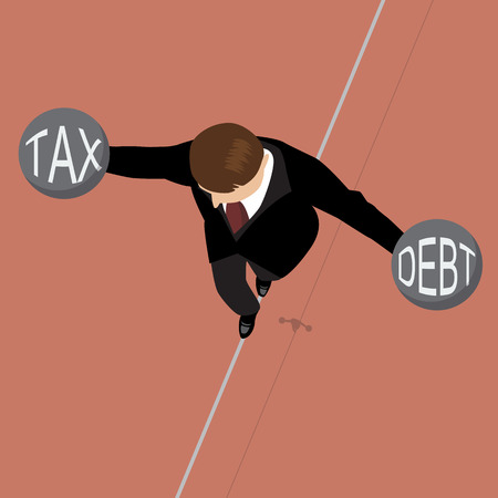 debt management: Businessman holding debt weight and tax weight on a wire. Risk management concept