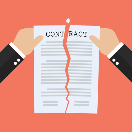 Hands tearing apart contract document paper. agreement cancellation Ilustracja