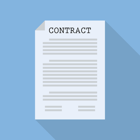 term and conditions: Contract document paper. Flat style with long shadow Illustration