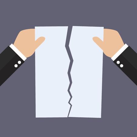 Handen scheuren naast document papier. overeenkomst annulering