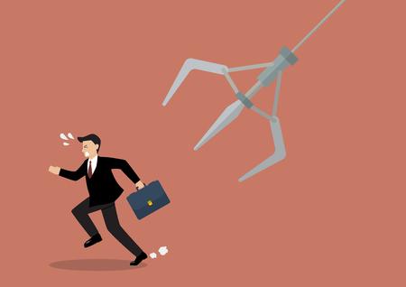 Negocios que se ejecuta lejos de la garra robótica. Concepto de negocio