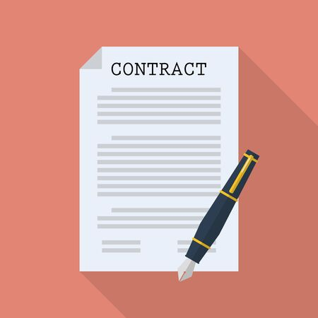 insulting: Contract document paper with pen. Flat style with long shadow