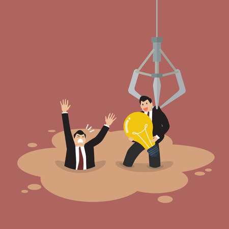 quicksand: Robotic claw picking a businessman who has an idea from a quicksand. Business concept Illustration