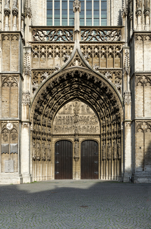 infernal: Main portal at the cathedral of Our Lady in Antwerp, Belgium Stock Photo