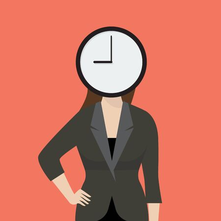 her: Business woman her head is a clock. Concept of time management Illustration
